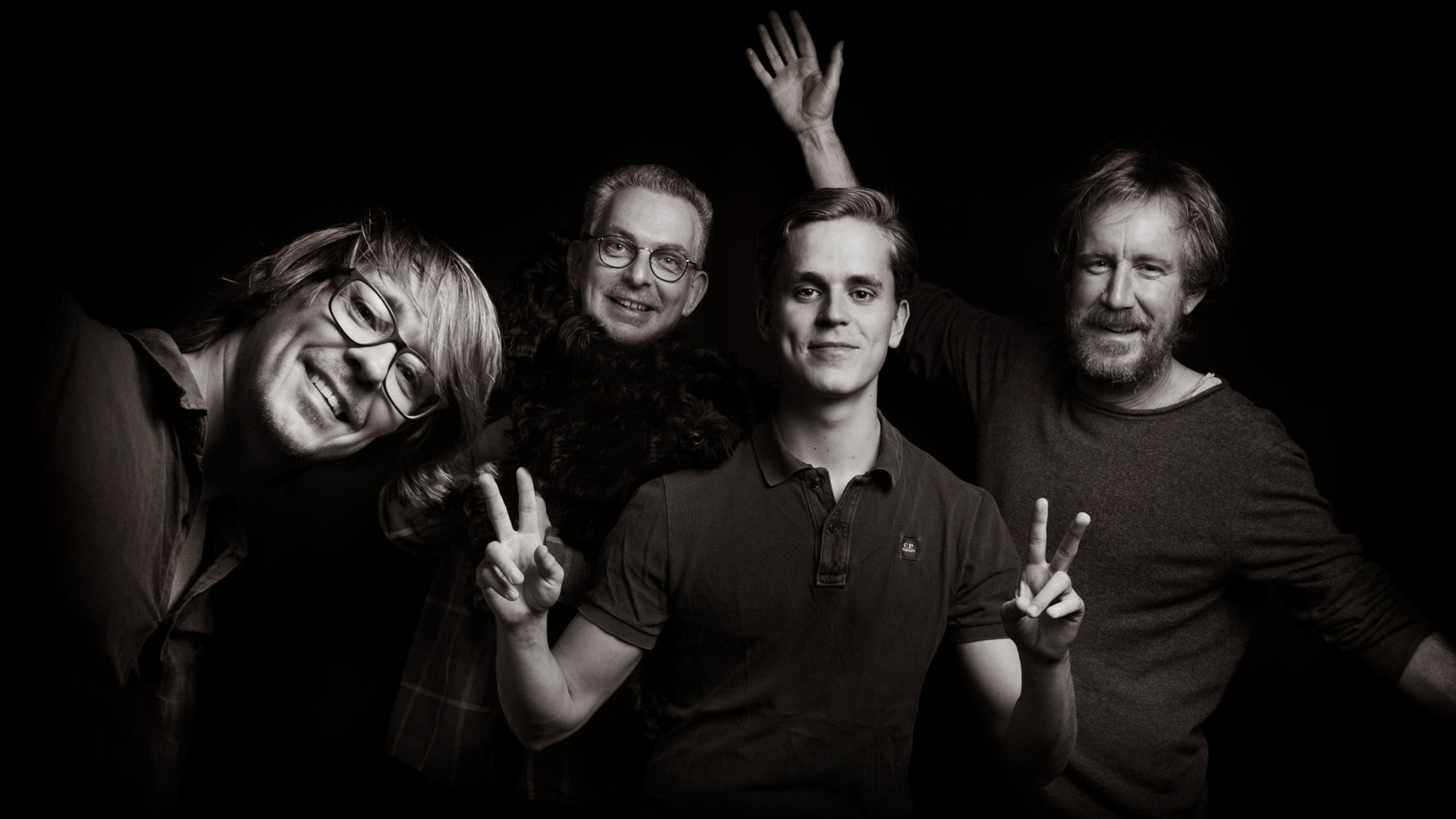 About us at österlen.se. From left Peter Carlsson, Lars Rabe, Noak Karlsson and Christian Esbjörnsson.