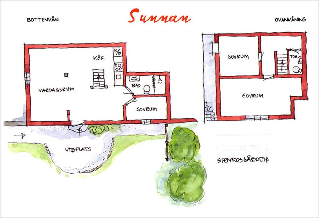 Stenrosgården - 3 Sketch of Sunnan - Accommodation Kivik Stenshuvud Österlen