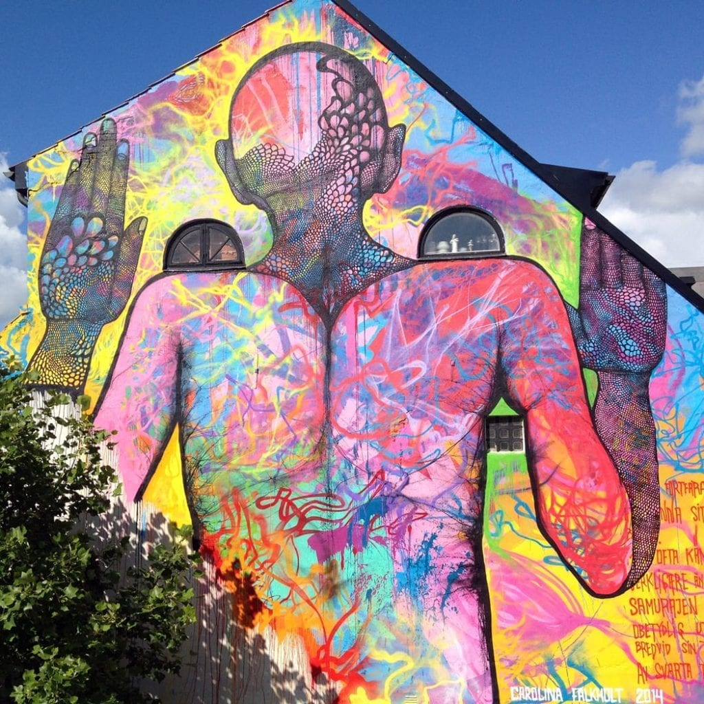 Rose's wall in Simrishamn with arm's length distance by Carolina- Falkholt