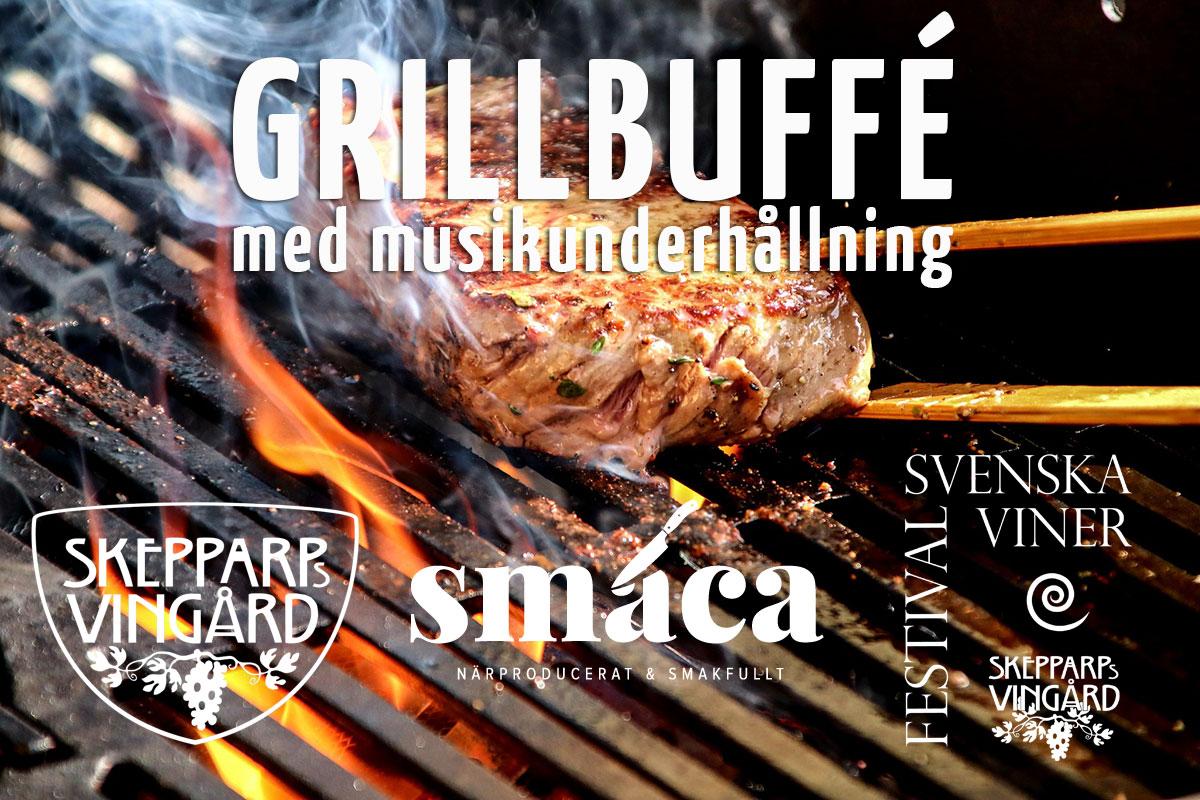 """""""grillbuffé med musikunderhållning"""" på kvällen efter vinfestivalen"""